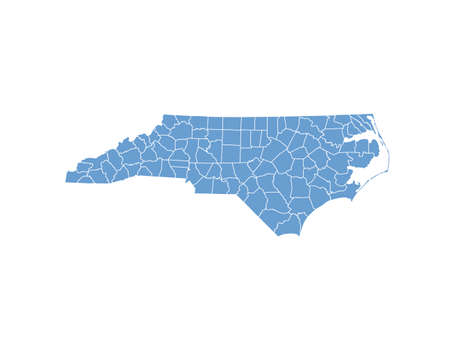 map of the united states: North Carolina State by counties Illustration