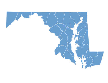 Maryland State by counties Illustration