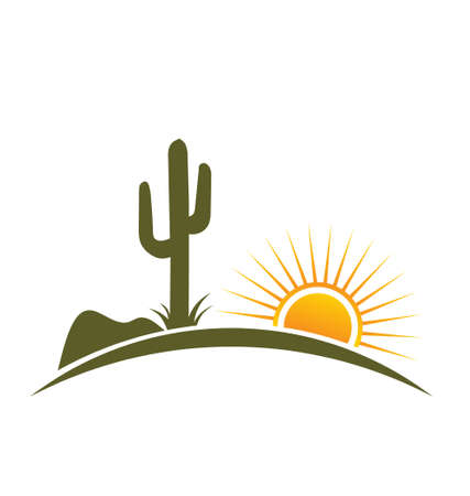 cactus desert: Desert design with sun Illustration