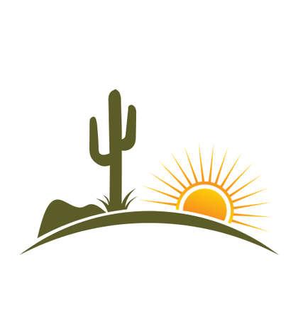 cactus desert: Woestijn ontwerp met zon Stock Illustratie