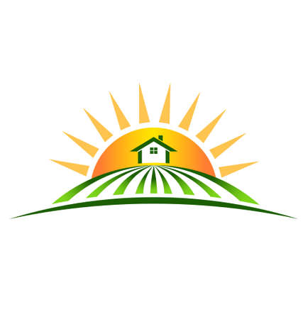 agricultural: Farm House with sun logo