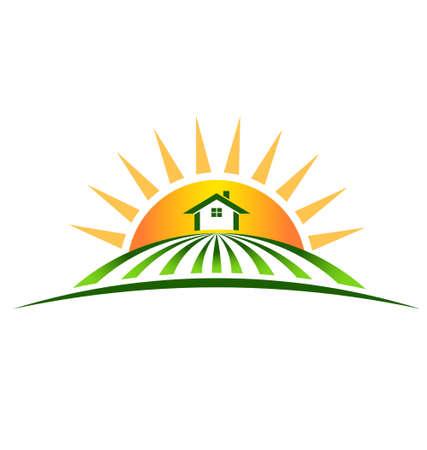 row of houses: Granja con el logotipo del sol