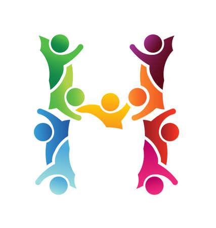 gruppe von menschen: Teamwork Buchstaben H Illustration