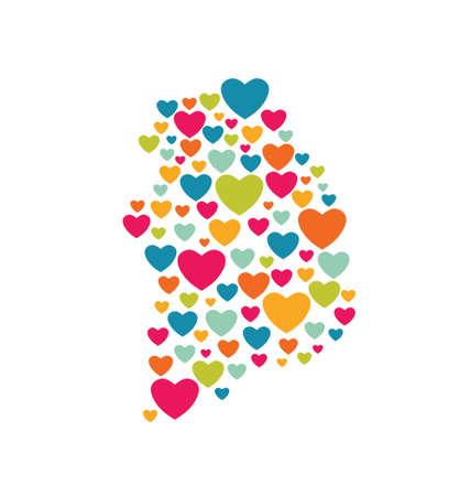 South Korea Heart Map Vector