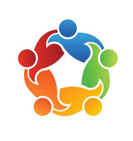 Lavoro di squadra Supporto 5 logo Vettoriali