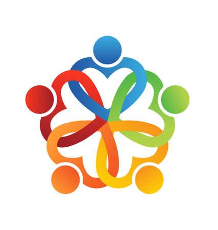 aide à la personne: Équipe entrelacé coeurs 5