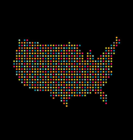 USA light dot map Vector