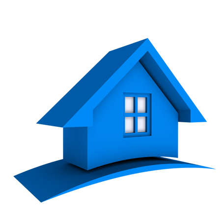 simple house: 3D Blue House with Swoosh