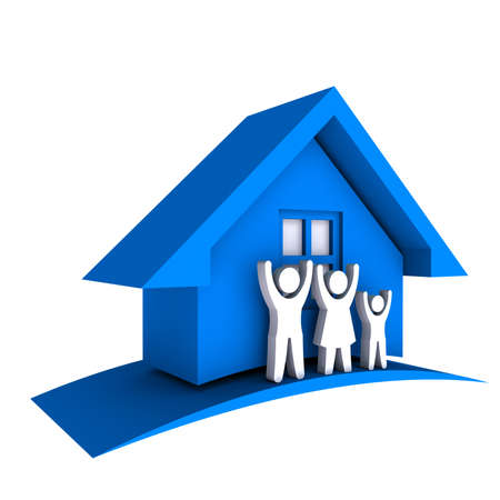 estate: 3D Blue house with Family Stock Photo