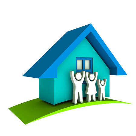 sold small: 3D Blue house with Family and green Stock Photo