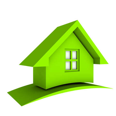 3D Green House Stock Photo - 24061094