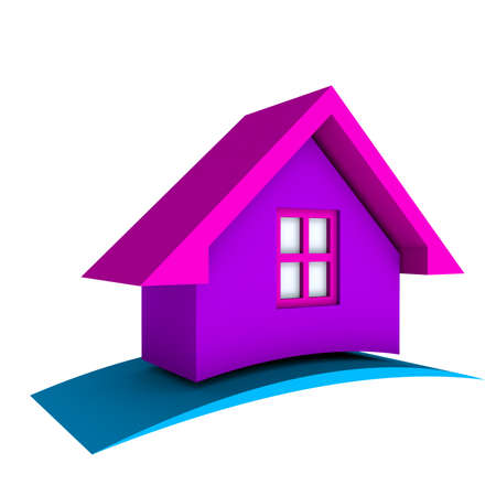 3D Pink House with blue swoosh