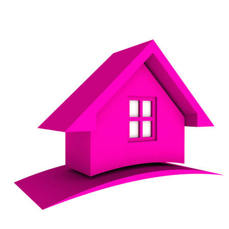 sold small: 3D Pink House with swoosh Stock Photo