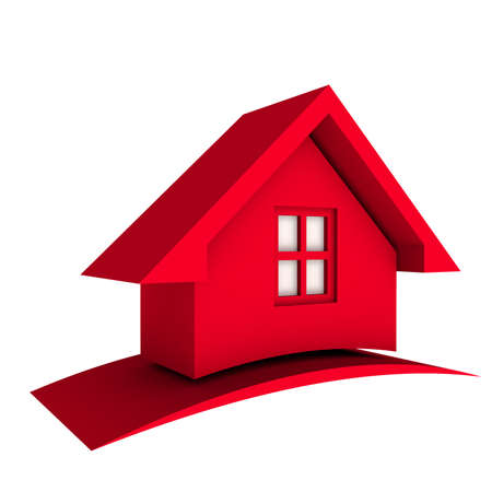 render residence: 3D Red House with swoosh Stock Photo