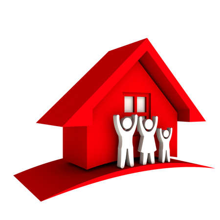 sold small: 3D Red house with Family Stock Photo