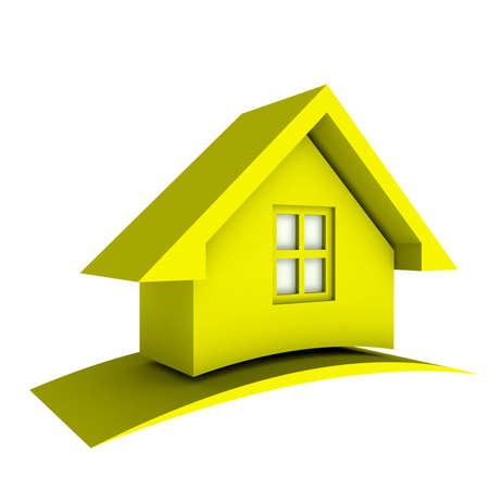 3D Yellow House with swoosh
