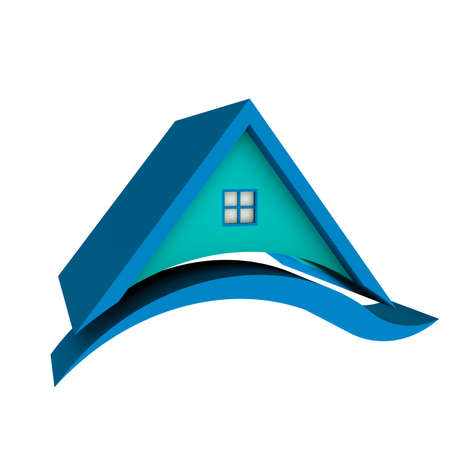 Blue Roof House with Swoosh  photo