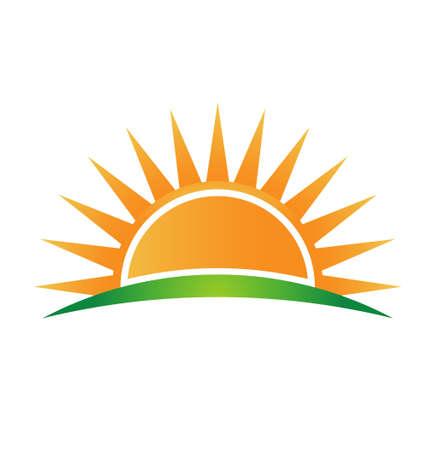 Icona sole all'orizzonte Vettoriali