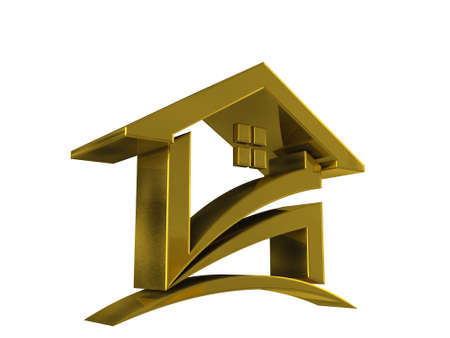 3d Gold House icon on a white isolated background Stock Photo - 24677175