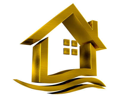 gold house: Gold house icon with swoosh