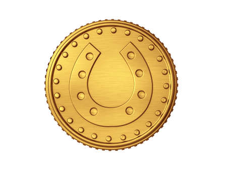 luck charms: 3D Gold Coin Horse shoe isolated