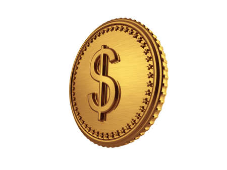 Dollar gold coin 3D isometric - Isolated in white background photo