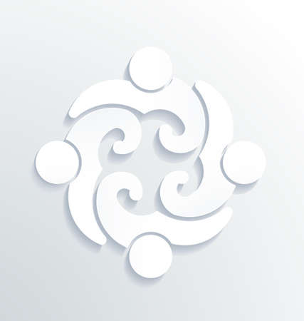 abstract family: Business label white icon vector design  People Group in Circle 4