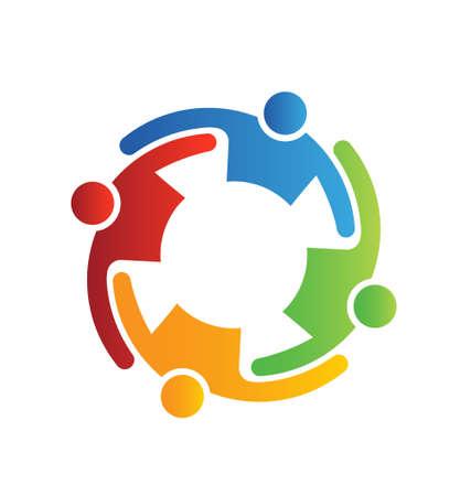 ベクトル チームワークを受け入れる 4  イラスト・ベクター素材