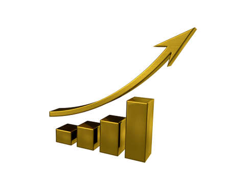 accounting design: Business Going Up Gold Bars 3D illustration