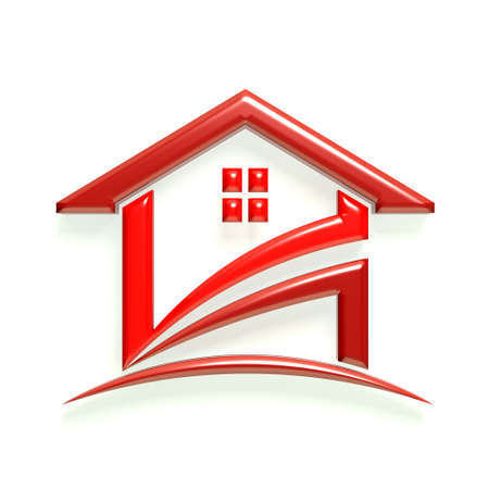 3D Glossy Icon Red House photo