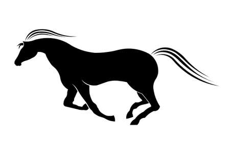 Running horse styled silhouette Vector