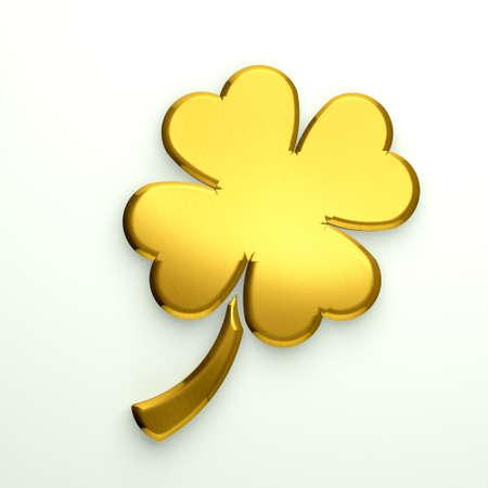 Illustrazione 3D Golden trifoglio con quattro foglie