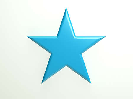 convex shape: Blue textured star icon Stock Photo