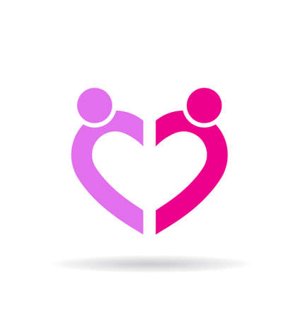 Heart shape by two people Vector
