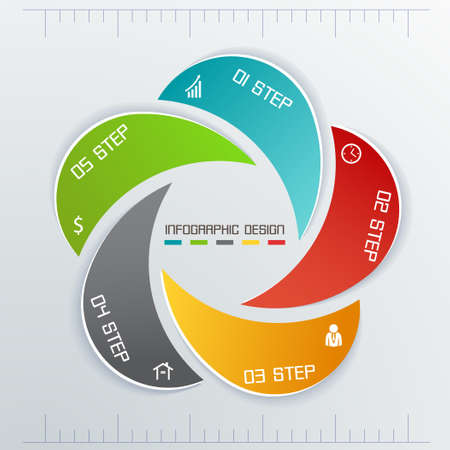 Infographics business five labels in circle photo