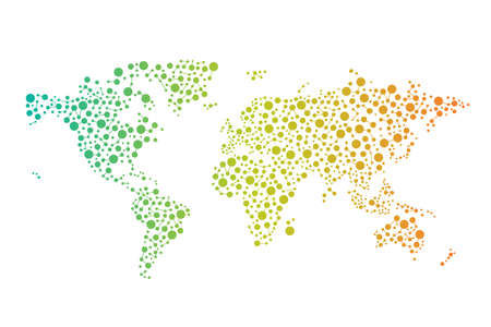원, 선, 색 추상 세계 연결지도는 그림 디자인 그라디언트 일러스트
