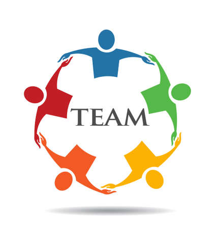 Teamwork Human Chain 5 Group of People 일러스트