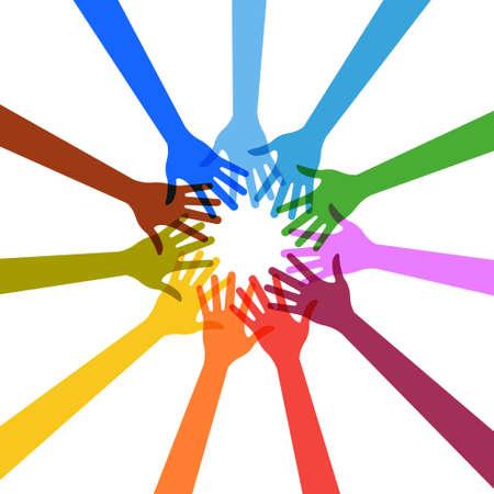 妥協および連合を示す手のベクトル グループ