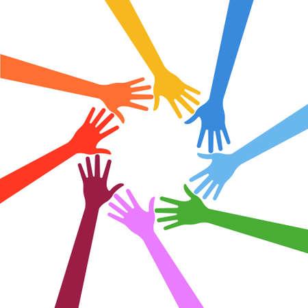 Illustration  Business hands showing team concept 向量圖像