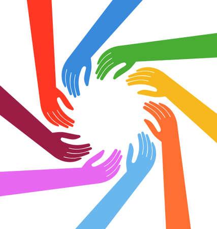 Illustration  Multiracial Human hands around a circle