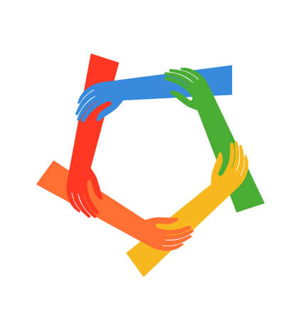 family unity: Illustration  Ring of five hands showing fraternity