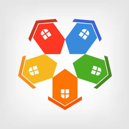 Gruppo illustrazione di case stella