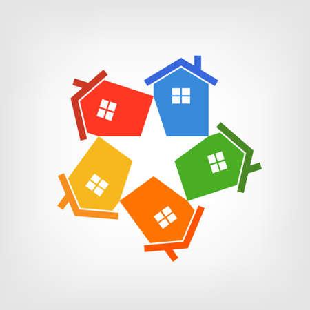 Illustratie groep van huizen die een ster