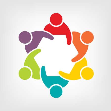 사람의 팀워크 회의 6 그룹의 그림 일러스트