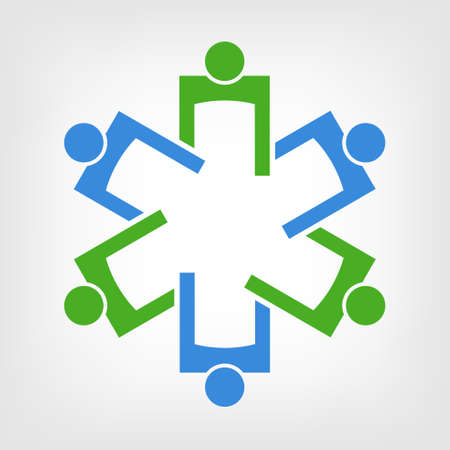 Medical Symbol Teamwork  Group of People Vector