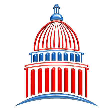president: Capitol Building Red and Blue Stock Photo