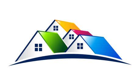 modern buildings: Vector Logo Groupe de maisons Illustration