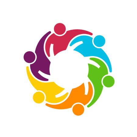 diversidad: Trabajo en equipo Gear Grupo de 6 personas que se abrazan unos a otros