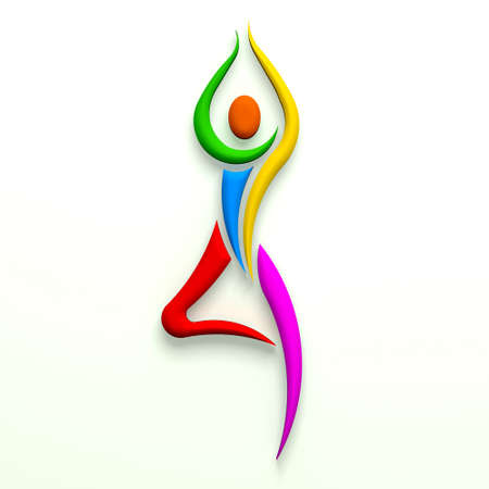 Yoga tree pose person multi color  3D design photo