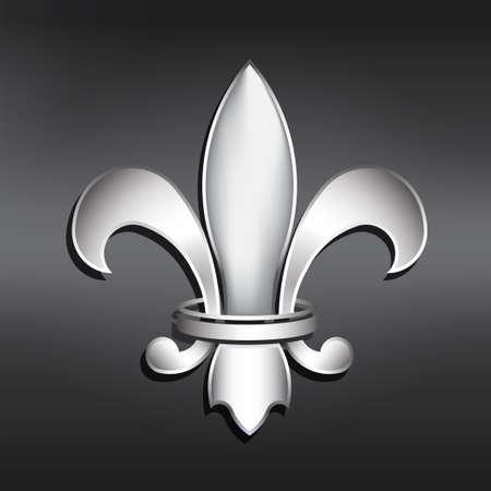 Vector Fleur de Lis  Silver style Vector